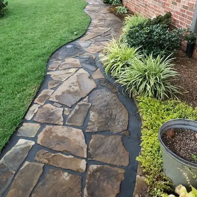 Charcoal with Tan flagstone Pavers