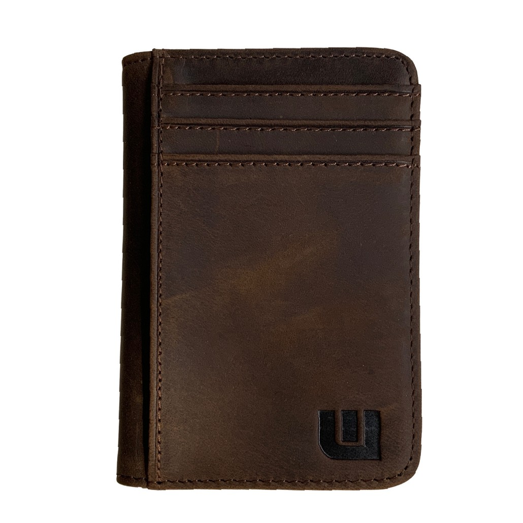 """Front Pocket Wallet with RFID in Crazy Horse Leather - Double Espresso 'T2"""""""