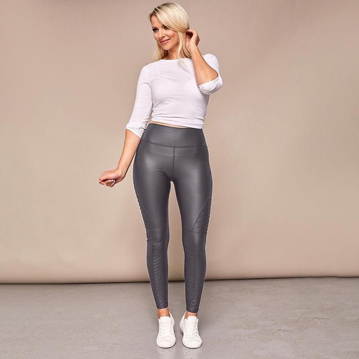Wet Look Biker Leggings Charcoal