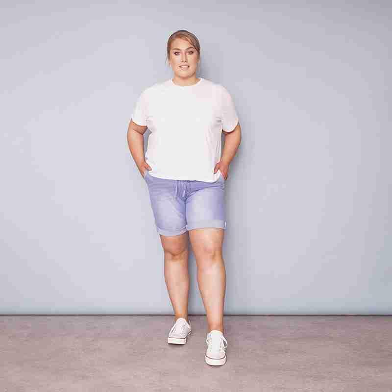 Curve Phoebe Elastic Waist Shorts (Light Blue)