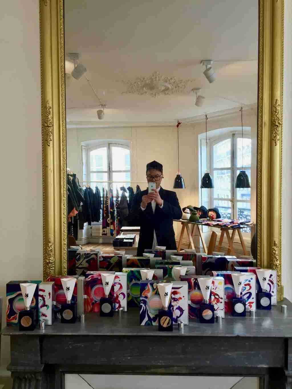 Joseph Quartana in the Paris showroom of PARFUMS QUARTANA , 2016