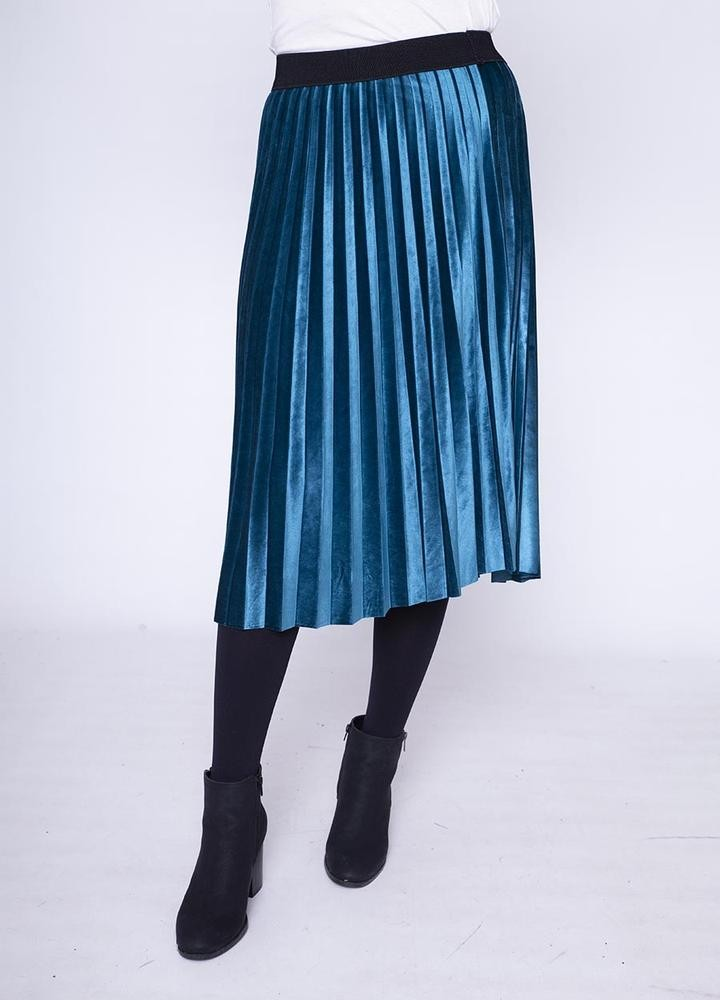 Stretch Waist Pleat Velvet Skirt in Teal