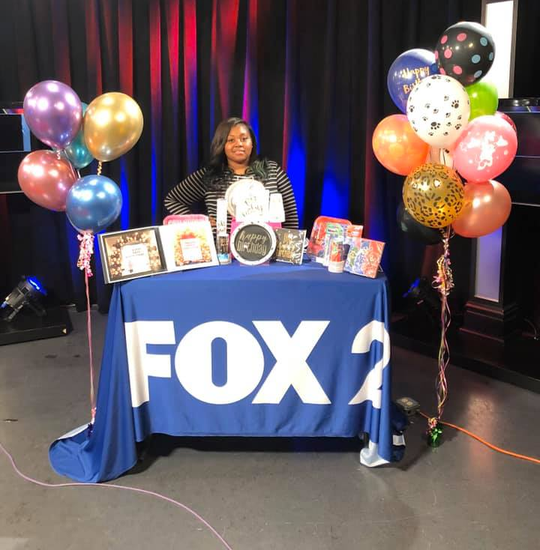 Kaneesha Miner on local TV to celebrate her one-year anniversary.