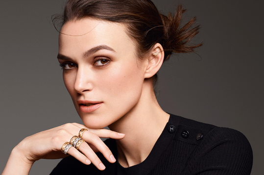Actress Keira Knightley wearing Chanel rings