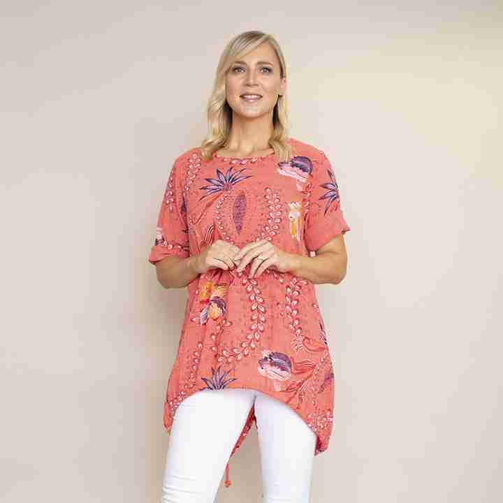 Lily Cotton Top(Coral)