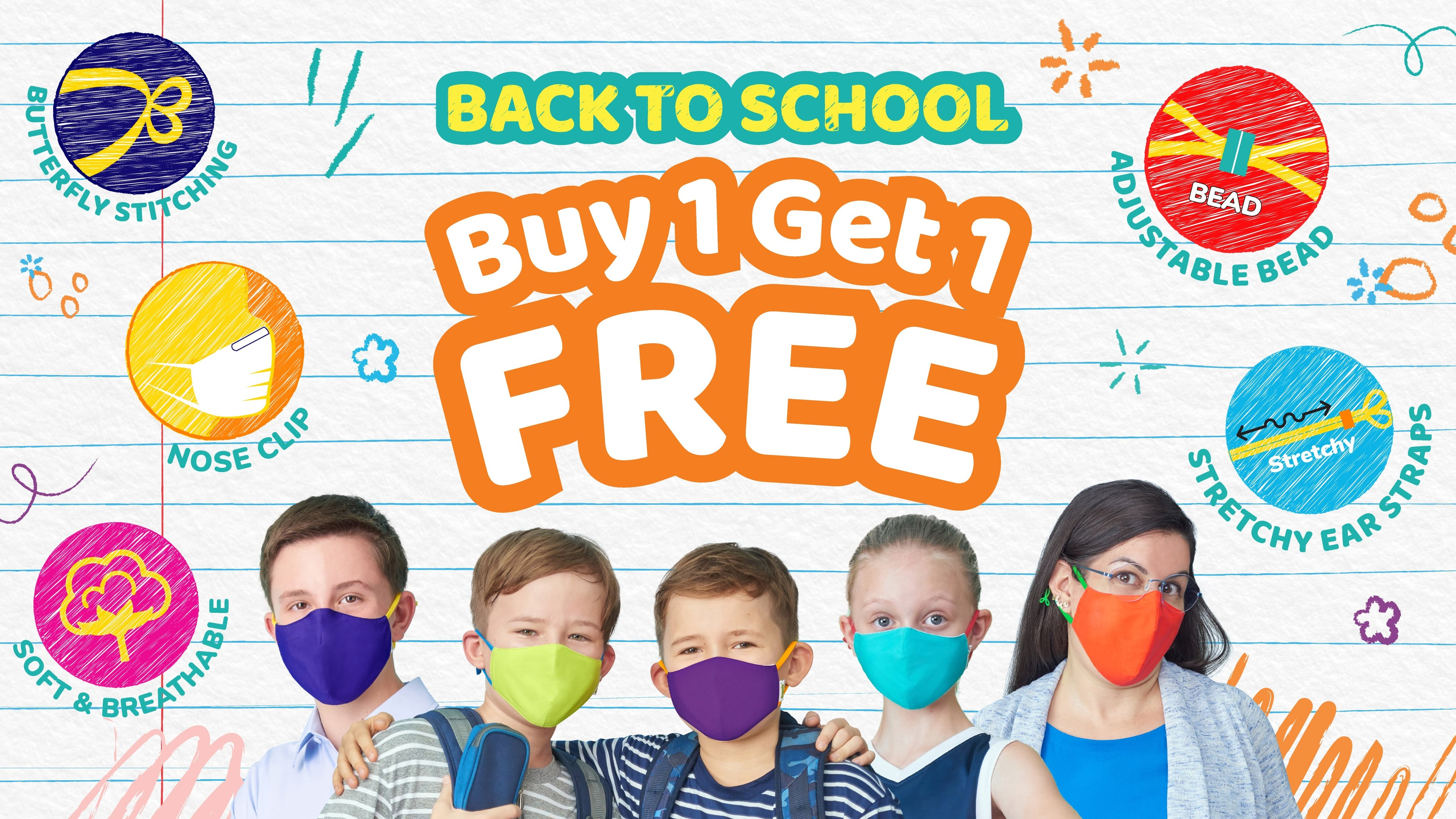 Back to school supplies list Crayola washable, reusable kids and adults fabric, adjustable face masks.
