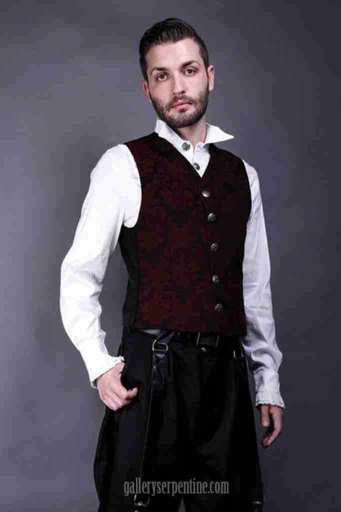 one only M burgundy baroque brocade vest from Germany