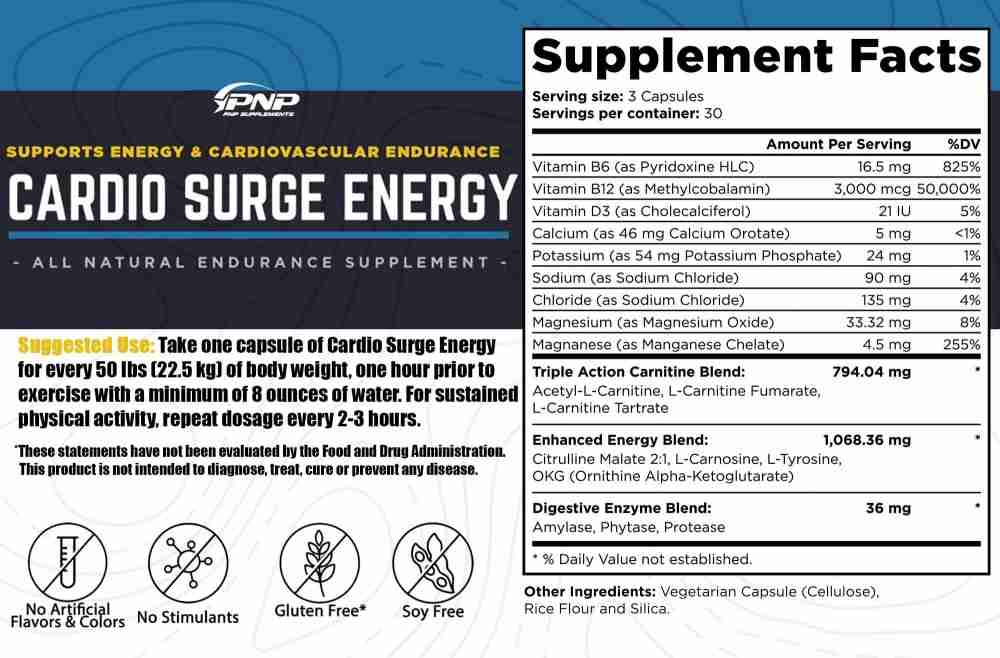 Cardio Surge Energy pre workout for cardio endurance.