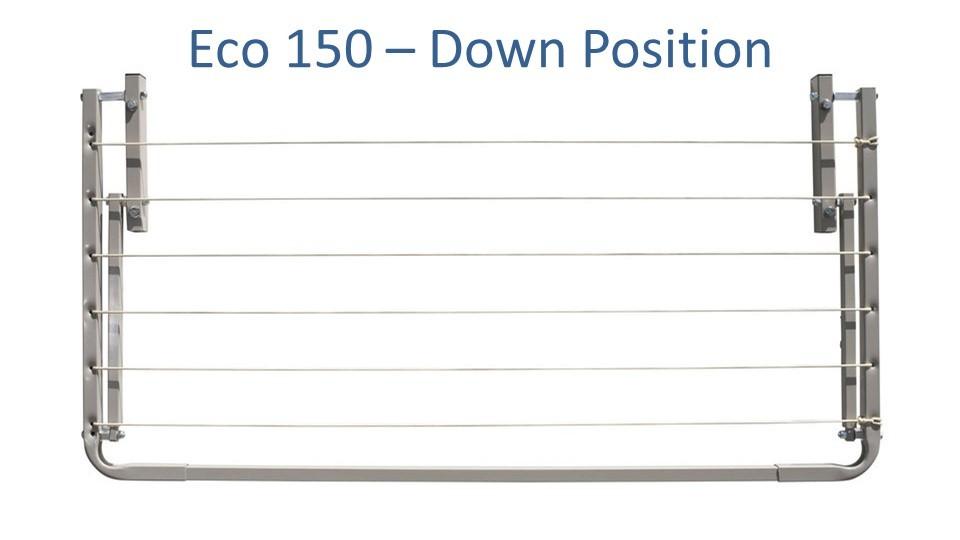 eco 150 1.4m wide clothesline folded down