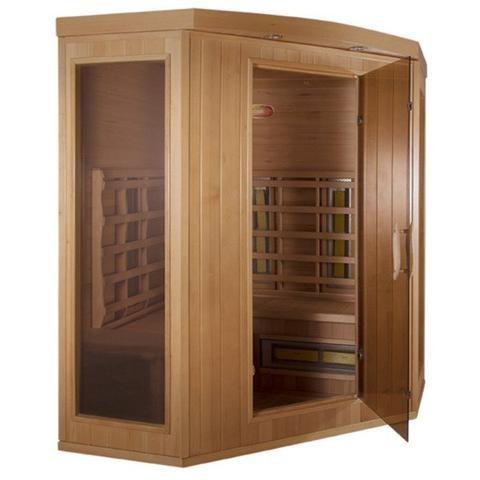 Space saving corner design sauna