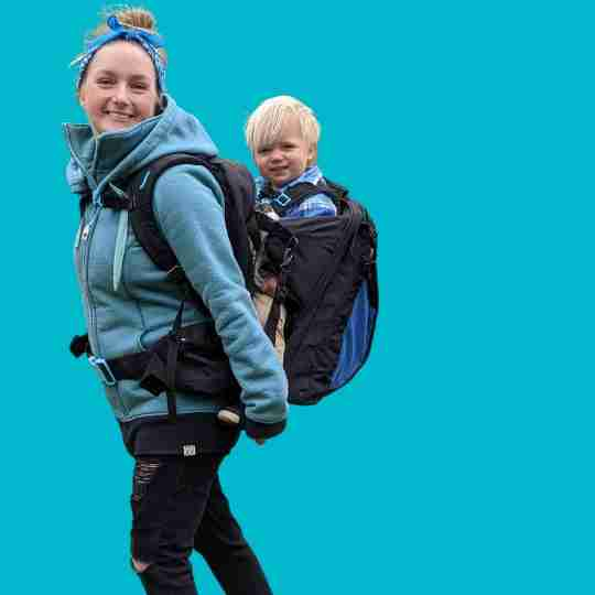 mum with boy in baby carrier backpack