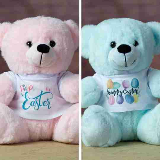 Pink and blue bears that are wearing festive Easter-themed t-shirts