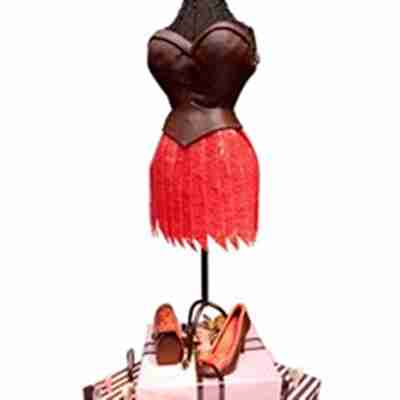 A dress and shoes made out of chocolate