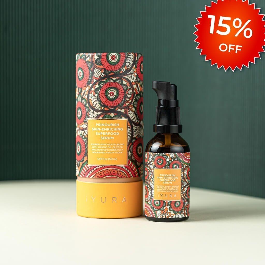 Prinourish Skin-Enriching Superfood Serum - With Almond Oil, Olive Oil, Turmeric, Mango and More Ayurvedic Herbs