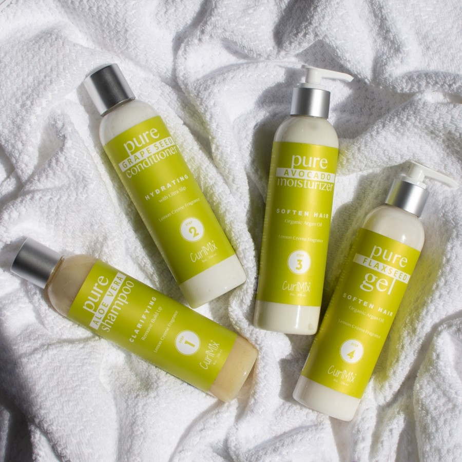 Lemon Creme Wash + Go System with Organic Argan Oil for Softening Hair (Step 1 - 4)