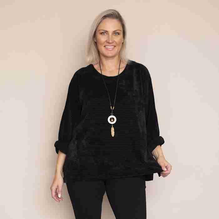 Emily Vevet TopPlus Size(Black)