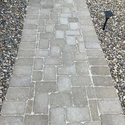 Natural on gray pavers