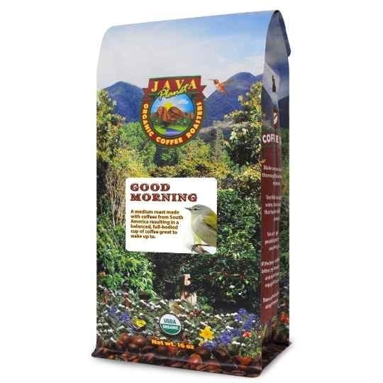 Good Morning coffee best organic Blend medium roast whole bean