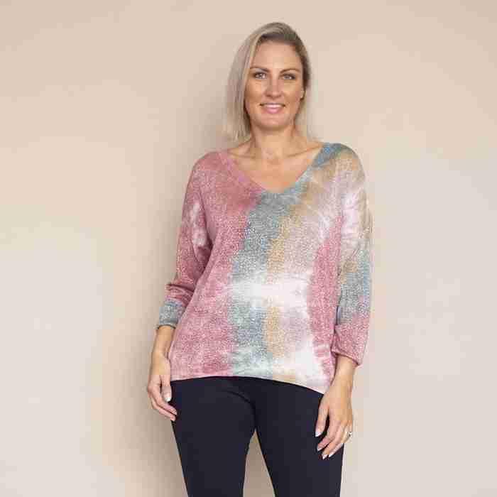 Val V Neck Tie Dye (Pink)
