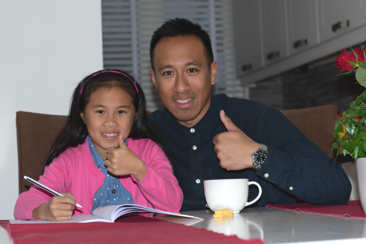 vader en dochter oefenen rekenen groep 3