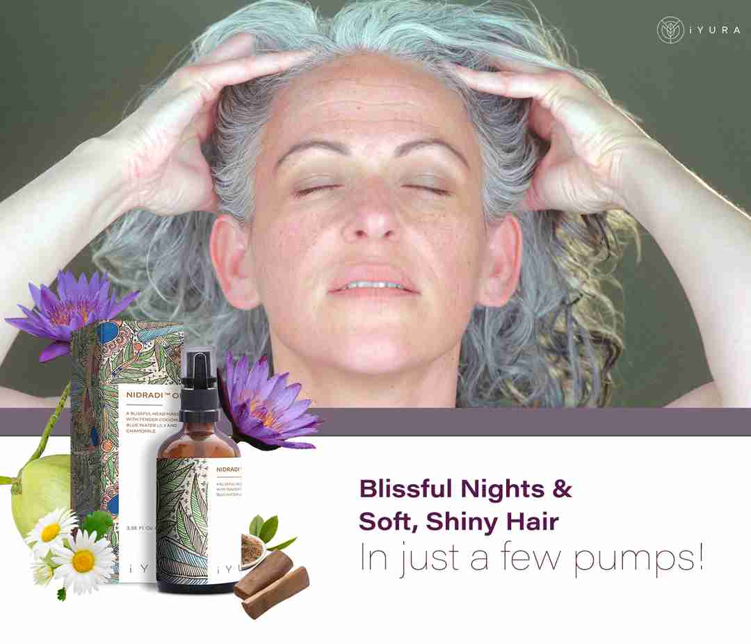 A beautiful mature woman in trance massaging her head using Nidradi Oil. The text says: Blissful Nights & Soft, Shiny Hair In Just a Few Pumps