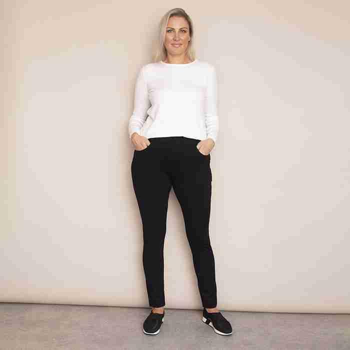 Ann's Stretch Waist Trousers - Plus Size(Black)