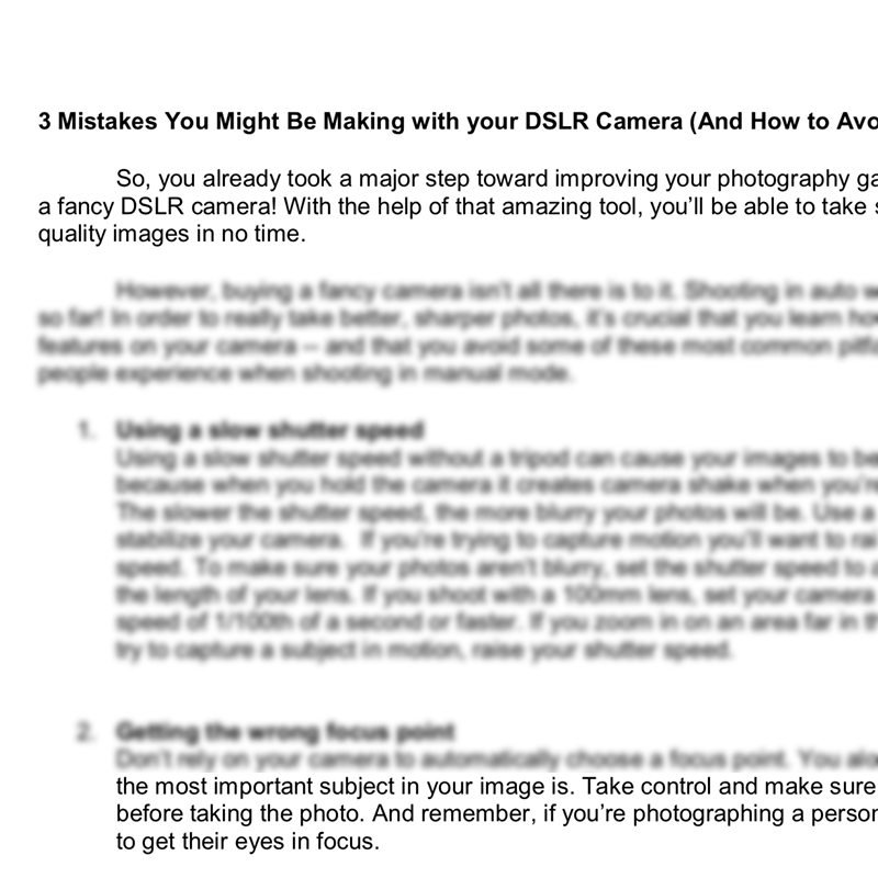 Pre-written blog posts for teaching photography