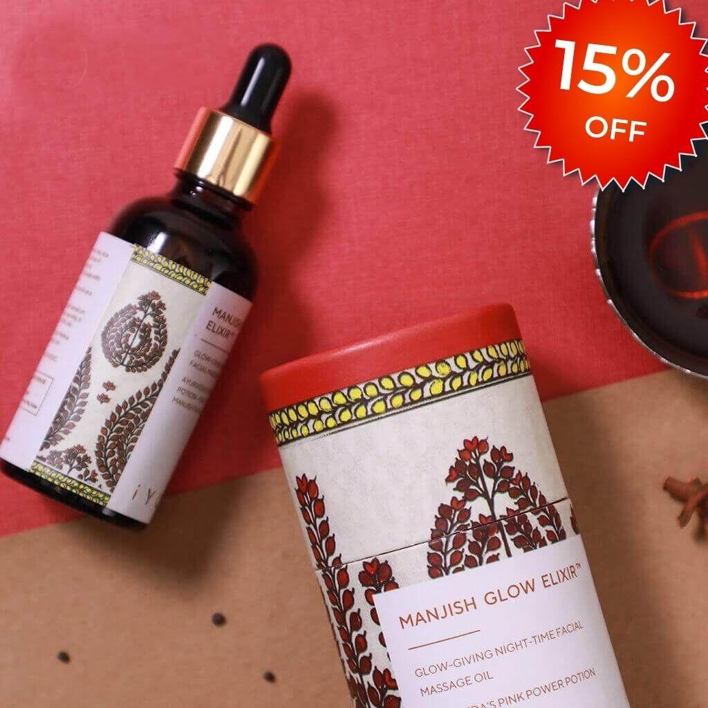Manjish Glow Elixir - Ayurvedic Night-Time Face Oil - Natural Moisturizer for Healthy Skin