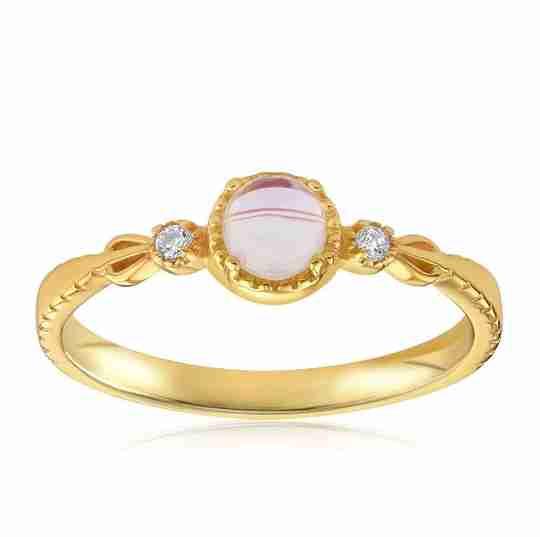 Blush and Bar mystic moonstone mood ring