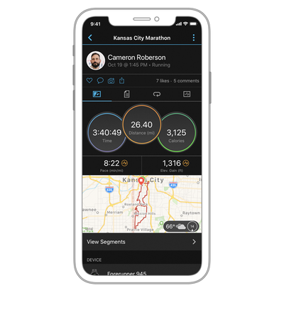 TRACK YOUR ACTIVITIES Whether you run, swim, kayak or lift weights, Garmin Connect can track it. The statistics recorded during each activity let you analyze your performance and improve on it next time. - Garmin Venu 2