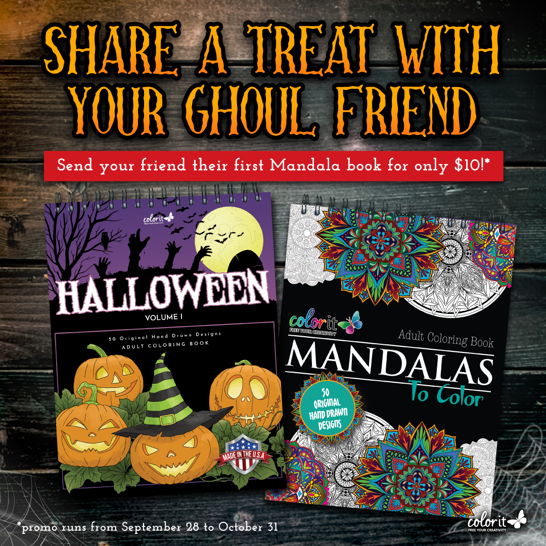 ColorIt Halloween adult coloring book promo
