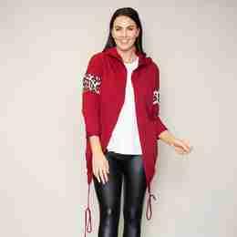 Rosie Leopard Hoody(Cherry)