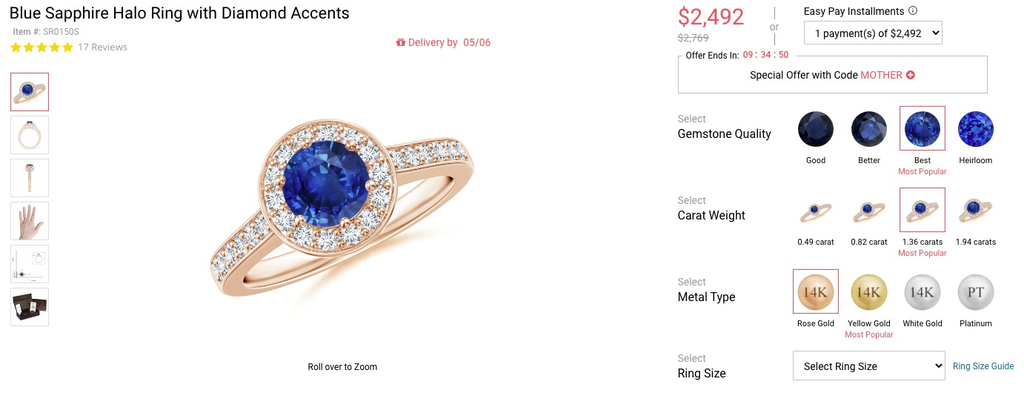 Angara Blue Sapphire Halo Ring from their website