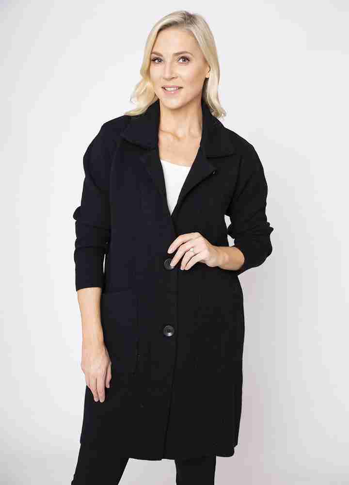 Revere Collar Coat Cardi in Black