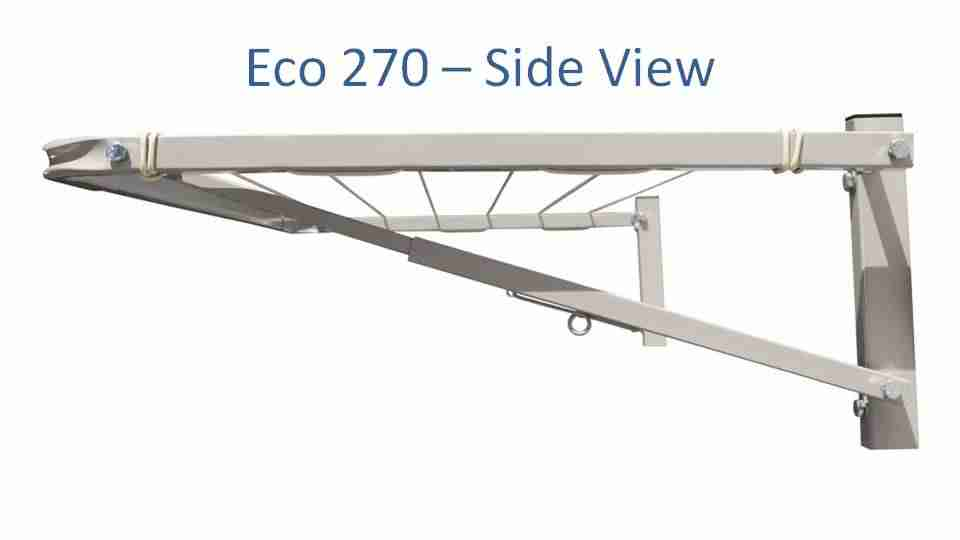 eco 270 2500mm wide clothesline side view