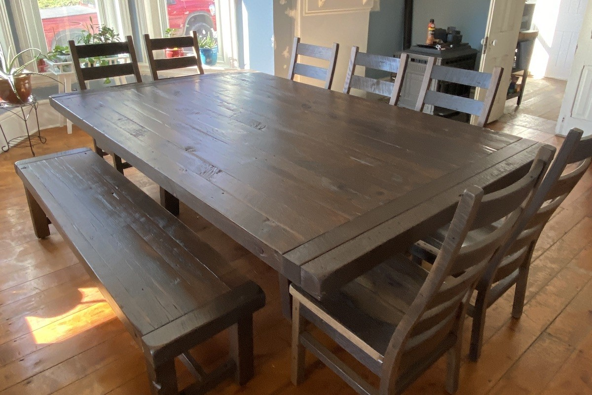historic home with reclaimed wood dining table