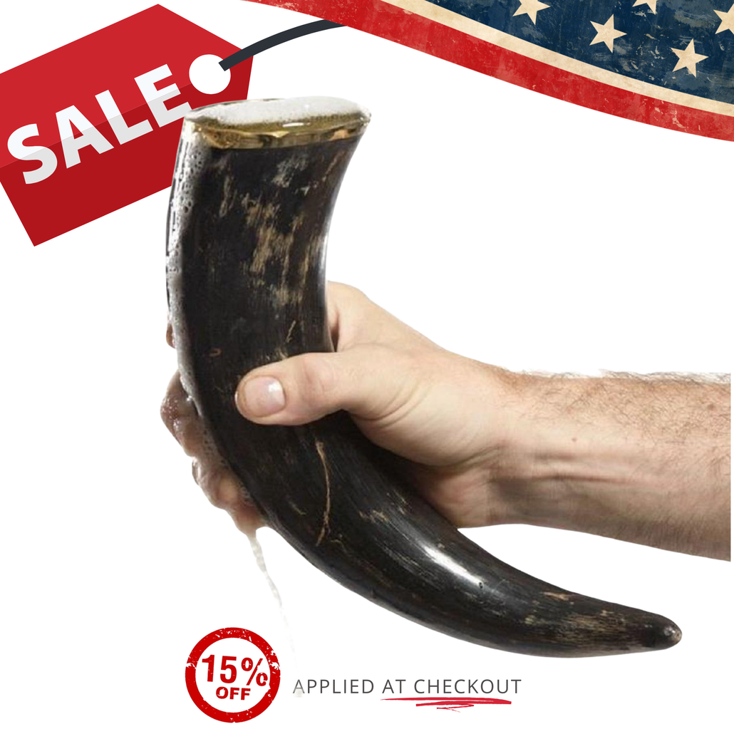 natural 12 inch drinking horn sale