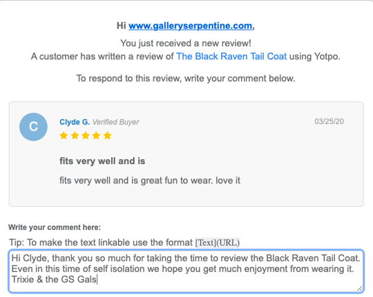 review of the Black Raven Tailcoat via Yotpo from Clyde G