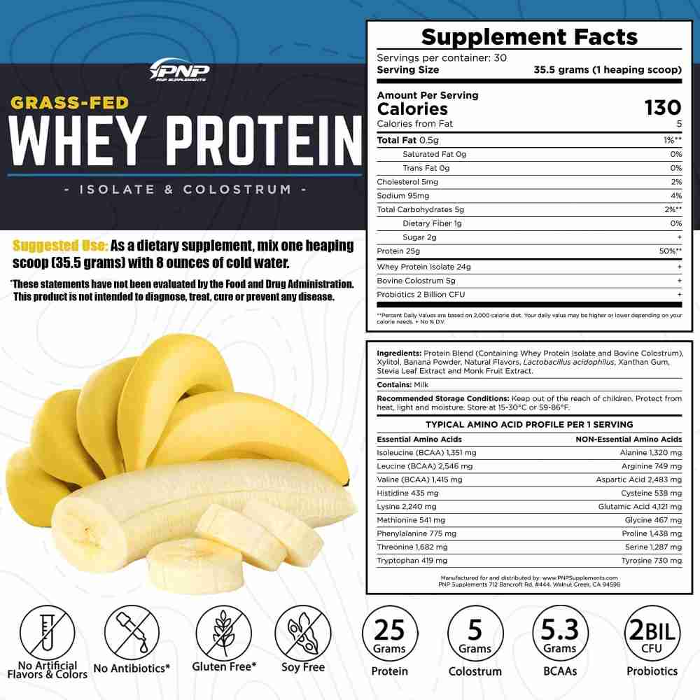 Grass-Fed Whey Protein Isolate and Colostrum Banana Crème Flavor Supplements Facts Panel by PNP Supplements