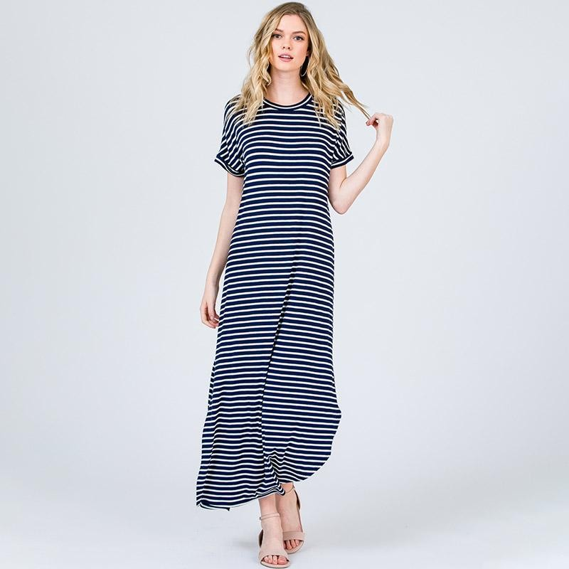 Ultimate Comfort Maxi Dress Navy Stripe
