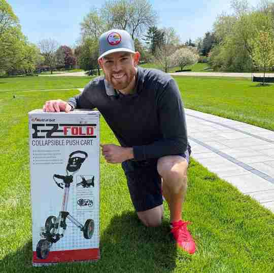 49ers kicker Robbie Gould with his pushcart, still in the box. PHOTO: GOULD FAMILY