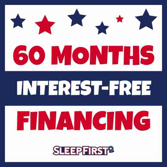 Graphic showing 60 Months Interest-Free Financing at Sleep First