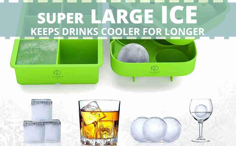 Super large ice. Keep drinks cooler for longer.