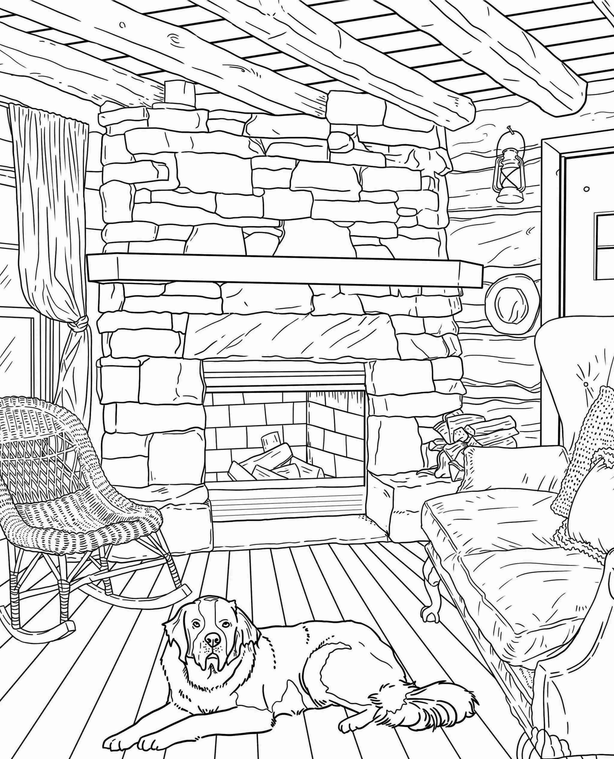 ColorIt Freebie Friday Blissful Scenes II Log Cabin 2021-02-19
