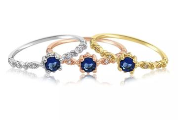 Blush & Bar Garen Blue Stone Ring in 3 metals