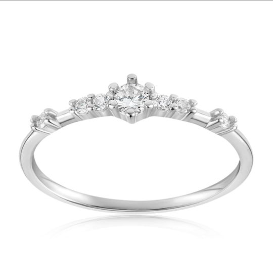 A sterling silver and cubic zirconia ring