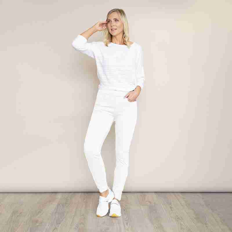 Ann Stretch Waist Trousers(White)