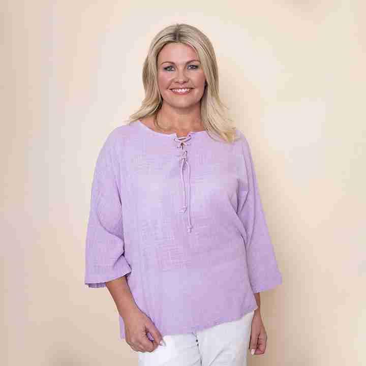 Tie Lace Linen Top (Lilac)