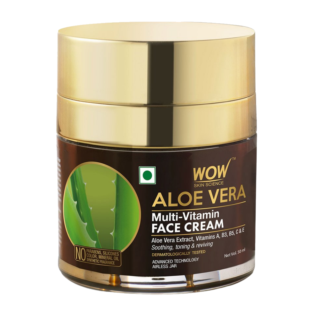 WOW Skin Science Aloe Vera Multi-Vitamin Face Cream - Light Quick Absorbing - For Normal to Oily Skin - No Parabens, Silicones, Color, Mineral Oil & Synthetic Fragrance - 50 ml