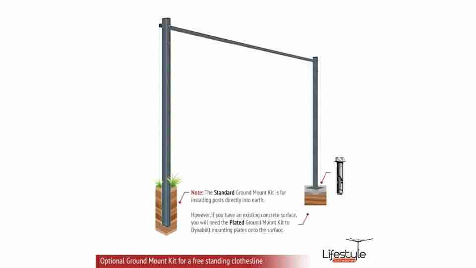 1600mm wide clothesline ground mount kit